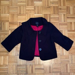 Style & Co Black Knit Overcoat Red Lining